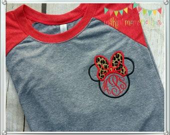 Minnie Mouse Disney raglan sleeve tee. Animal kingdom minnie monogram red and gray baseball sleeve tee