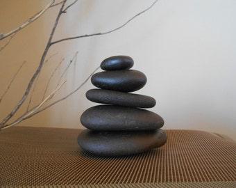 "Zen Garden Stacking Rocks, Natural Stacked Stone Meditation Cairns Shiny Black 3"" - 4"" Tall Real Zen Rocks"