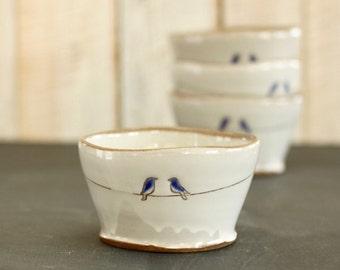 love birds bowl - two blue birds - white + brown glaze - stoneware pottery - READY TO SHIP
