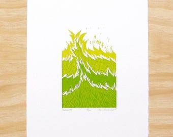 "Woodcut Print - ""Growth"" - Spring Green Grass Plant - Art Printmaking"