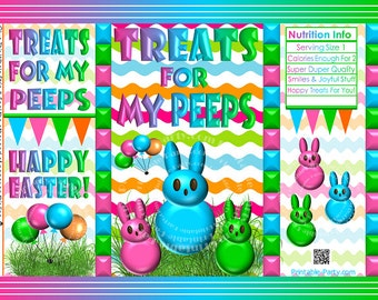 Easter basket treat boxes printable easter egg chick favor printable easter treat gift bags easter bunny chip bag wrappers negle Image collections