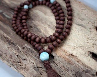 Wooden Mala Beads - Wood 108 Mala Beads with Handmade Tassel, Mala Beads with Amazonite, Meditation Jewelry, Yoga Jewelry, Boho Jewelry