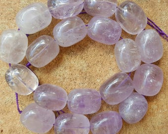 "Natural Amethyst Chunky Oval Beads, 19~21 x 14~16mm - 15.5"" Strand"