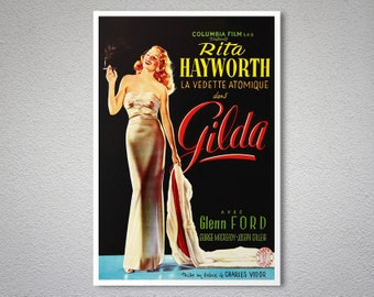 Gilda Vintage Movie Poster, Rita Hayworth - Poster Print, Sticker or Canvas Print
