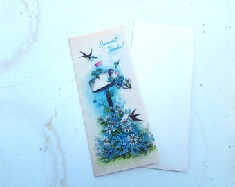 Vintage Greeting Cards, 1940s Thank Cards, Vintage Thank You Cards, Parchment Cards, Vintage Cards with Flowers and Birds