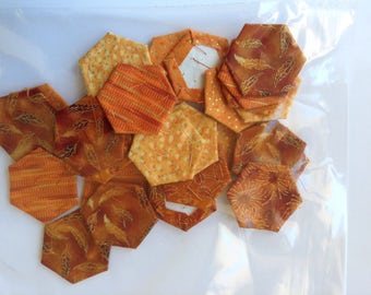 ORANGE, pre covered hexagons for english paper piecing, pack of 30, hexagons, pre basted hexagons, EPP, patchwork,
