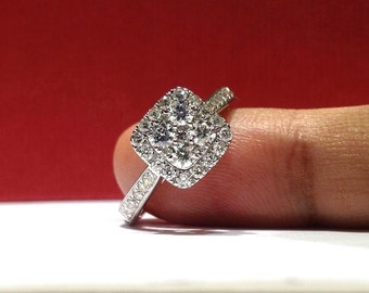 1.50 Carat G VS2 Ideal Cut Genuine Natural Cushion Halo Style Diamond Ring in 14K White Gold (HD video available)