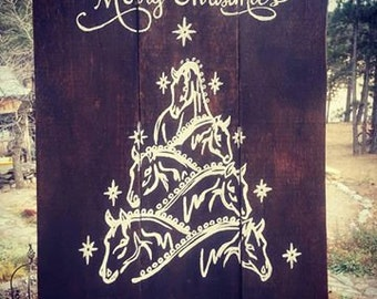 Merry Christmas Horse Tree Painting  (Dog option as well)