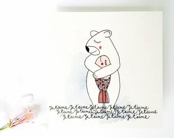 BEAR and fish card I love you