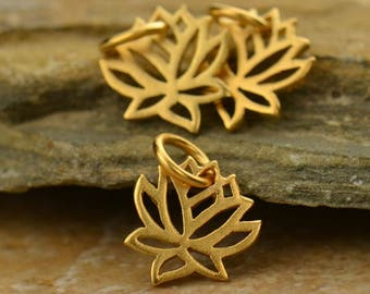 Tiny Lotus Charm 24K Gold Plated Sterling Silver