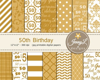50th Birthday Digital Papers, Gold, Golden Damask for Digital scrapbooking, Invitations, Cake Topper