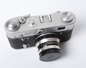 Vintage Photo Camera FED 3, 35mm film rangefinder camera made by FED  made in Russia (C0332)