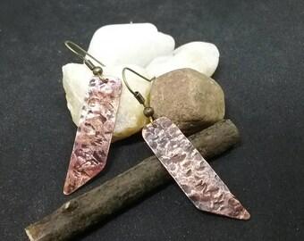 Rustic copper earrings