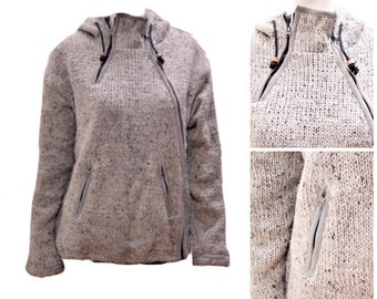 Boho Knitted Wool Stitch Multi Zipper Front Pocket Hooded Cardigan Grey