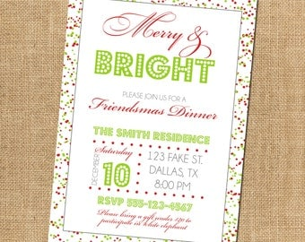 25% OFF CUSTOM Merry and Bright Friendsmas Christmas Party Invitation - Red and Green