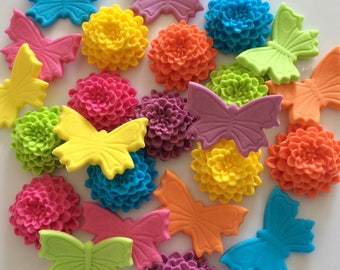 RAINBOW MUMS N' BUTTERFLIES edible sugar paste birthday cake decorations cupcake toppers