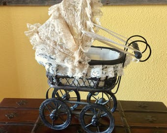 Antique Doll Carriage Baby Buggy Lace Wicker Metal Wooden Stroller Dollhouse Baby Shower Gift Centerpiece Bassinet Victorian Nursery Display