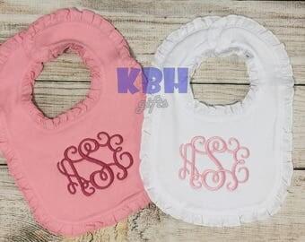 Embroidered Ruffle Bib Monogrammed Bib