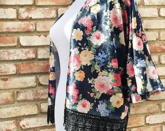 Kimono, Black Velvet, Floral Velvet Kimono Cardigan, Kimono Jacket, Women's Cardigan, Kimono Cardigan, Boho Bridal, Boho Style, Hippie Gypsy