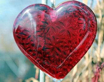 OOAK Ruby Red Fused Glass Heart, Embossed Glass Heart, Handmade Fused Glass Ornament, Window Jewelry, Heart Suncatcher