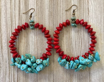 Red and Turquoise Hoop Earrings, Southwestern Earrings, Seed Earrings, Statement Earrings, Seed Jewelry, Turquoise Jewelry