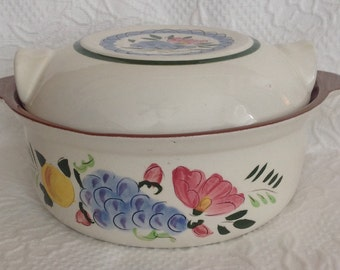 Stangl Fruit and Flowers Hand Painted Covered Casserole Vintage