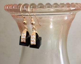 Gold swarovski jet black crystal earrings