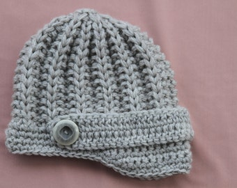 Baby boy knitted hat. Grey knitted hat. Boy knitted hat.newsboy hat.Knitted cap.Knit boys hat.