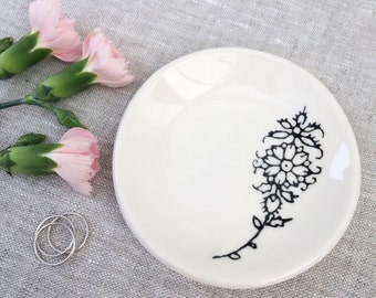 Ring Dish - Trinket Dish - Jewelry Dish - Ceramic Henna Flower Tattoo Black
