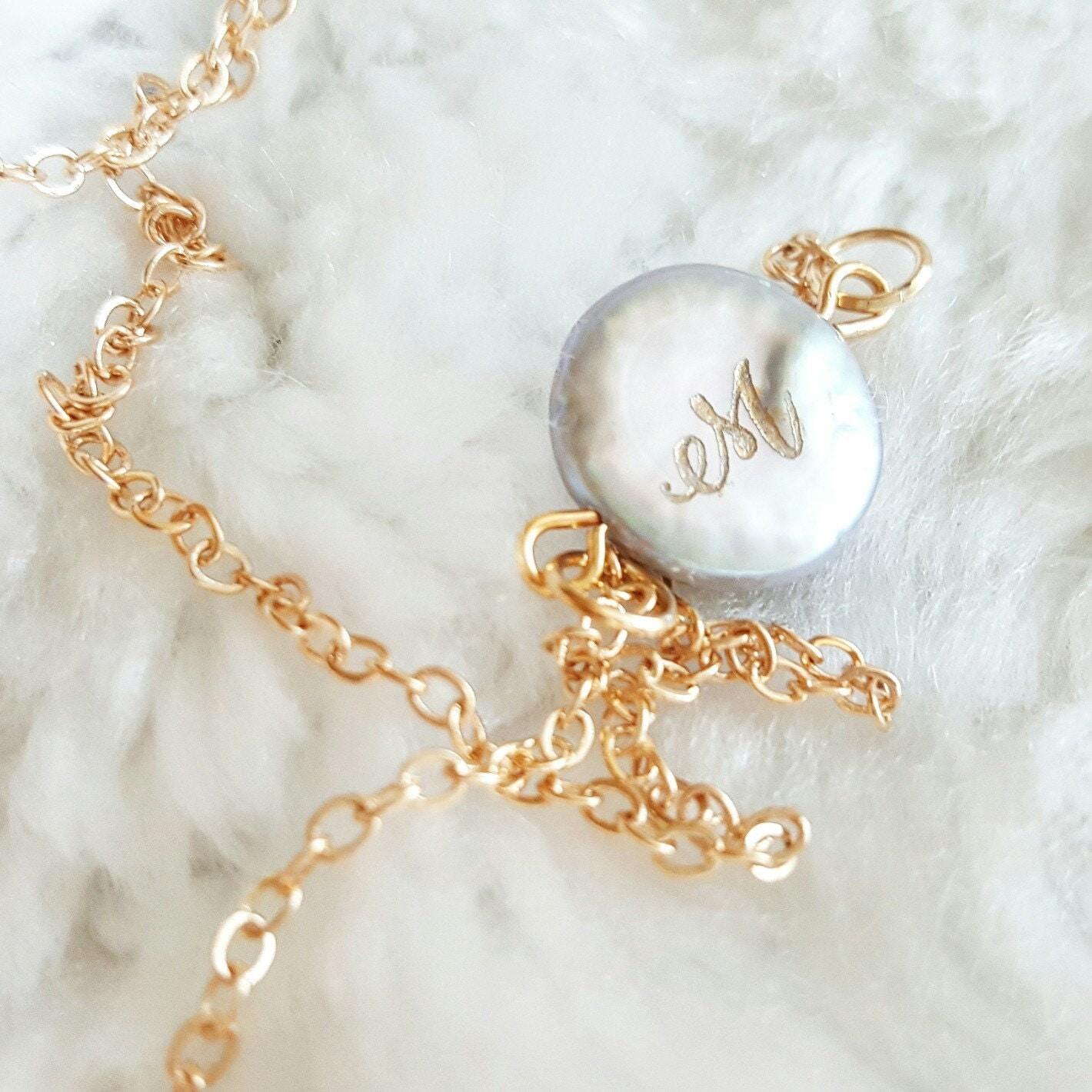 Laser Engraved Monogrammed Pearl Necklace, Laser Engraved Gift, Initial  Pearl, Monogrammed Pearl, Laser Engraved Monogrammed Pearl Necklace