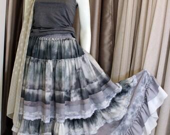 Gray  silk maxi skirt in boho-chic style.