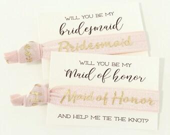 Bridal Party Proposal Hair Tie Cards   Pale Blush Pink + Gold Bridal Party Hair Ties, Wedding Party + Bridesmaid Gift, Bridesmaid Proposal