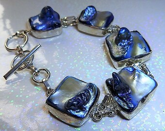 Vintage Jewelry Rare Maba Grey Blue Blister Pearls Set in Sterling Silver Bracelet