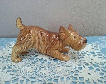 Adorable Vintage Brown Terrier Dog Figurine Made In Japan Vintage Dogs