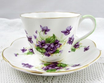 Vintage Tea Cup and Saucer by Salisbury with Purple Flowers, Violets, English Bone China, Teacup and Saucer