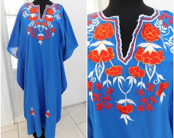 Vintage Embroidered Caftan Dress Vintage Kaftan Dress Souvenir Dress Ethnic Dress Womens Long Dress Hippie Folk Dress
