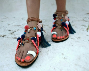 Ethnic-Handmade Lace-up- Gladiator  Sandal - Ikaria-decorated sandal-charms and Tassels