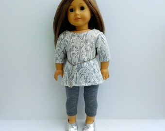 White lace print tunic top with chain belt and charcoal gray glitter leggings for 18 inch doll such as American Girl and My Imagination