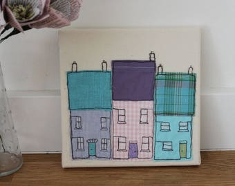 Little pastel row of houses, fabric art, ideal gift, recycled handmade art