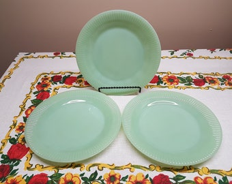3 Jadeite Salad Plates by Fire King in Jane Ray Pattern