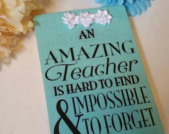 Wooden teacher sign, teacher gift,  amazing teacher, teacher signs, teacher gifts, unique gifts for teachers, personalized gifts for teacher