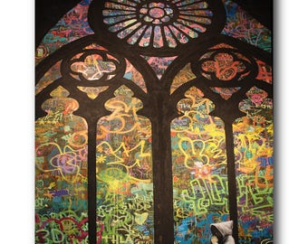 Banksy Stained Glass Cathedral Brushed Aluminum Metal Print