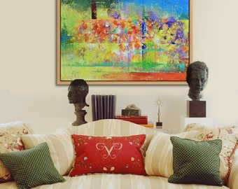 Abstract Canvas Art Painting, Abstract Landscape,  Hand Painted Painting, Abstract Art, Original Abstract Painting