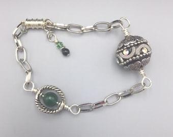 Bright Silver Aventurine Magnetic Bracelet