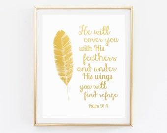 Bible Verse Wall Art, Gold Foil Bible Verse Wall Art, Scripture Wall Art, Psalm 91:4, Bible Verse Art, Christian Quotes, Bible Verse Prints