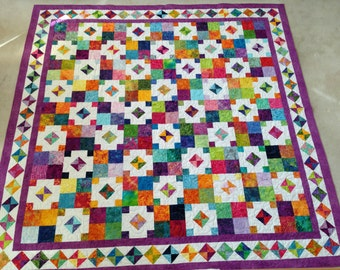 Bright Modern Homemade Queen Size Quilt
