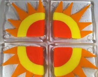 Fused Glass Sunshine Coasters Set of 4, Trivet, Sun, Orange, Yellow, Glass, Kitchen Decor, Bar Accessories, Hot Plate, Glass Tile