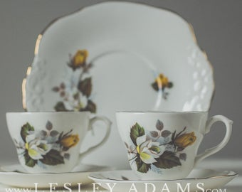Harleigh China, Tea and Biscuits for Two. Two China Duos and Cake Plate