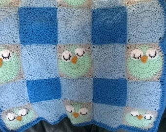 Crochet baby sleeping owl blanket, crochet blanket, baby girl,baby boy crochet blanket, crochet owl, crochet sleeping owl,made to order