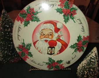 Vintage Luden's  Christmas Candy Tin, Santa, Holly